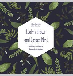 wedding floral invitation watercolor green vector image