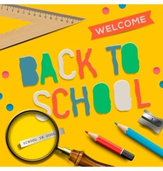 Welcome back to school on yellow background vector image
