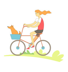 woman riding bicycle with pet happy together vector image