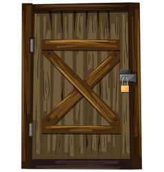 Wooden door with lock vector