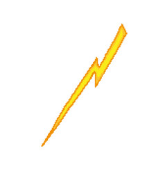 Yellow lightning sign isolated on white vector