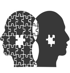 couple jigsaw puzzle people head background vector image vector image