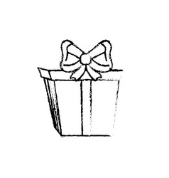 figure present gift with ribbon bow decoration vector image
