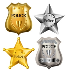 Police badge set vector image vector image