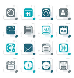 stylized mobile phone and communication icons vector image vector image