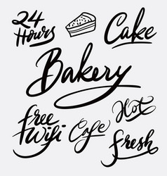 bakery and cake hand written typography vector image vector image