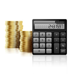 Calculator and coins vector image vector image