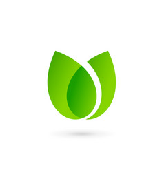 eco leaves tulip logo icon design template vector image