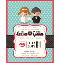 groom and bride icon wedding invite card template vector image