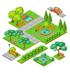 isometric city park landscape elements set vector image