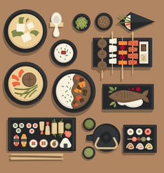 japanese food and sushi bento icons for vector image vector image
