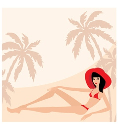 palm trees and woman vector image vector image