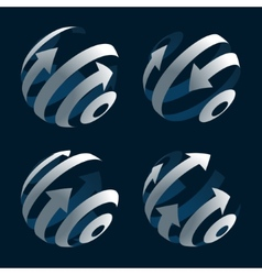 Set of Abstract Arrow Globes Stock vector image