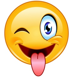 stuck out tongue and winking eye emoticon vector image vector image