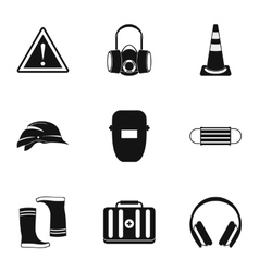 Construction ground icons set simple style vector image