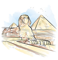 Drawing color pyramids and sphinx in giza egypt vector