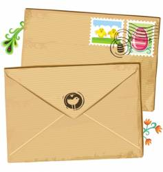 Easter envelope and stamps vector image vector image