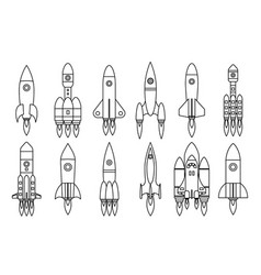 lineart space rocket start up launch symbol vector image vector image