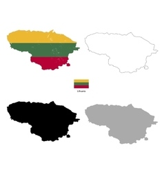 Lithuania country black silhouette and with flag vector image