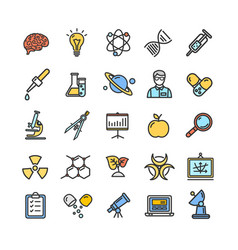 science research color flat thin line icon set vector image vector image