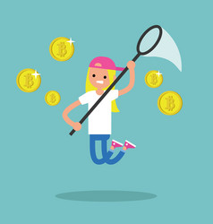 young female character mining bitcoins conceptual vector image vector image