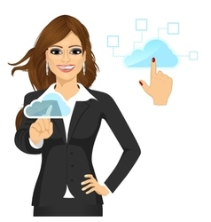businesswoman touching the cloud vector image vector image