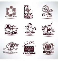 cinema symbols and retro emblems collection vector image