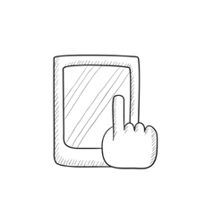 Finger pointing at tablet sketch icon vector image vector image