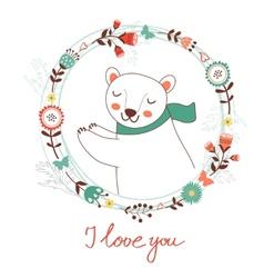 I love you card with polar bear vector image