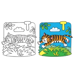 Little tiger coloring book alphabet t vector