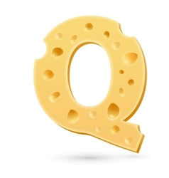 Q cheese letter Symbol isolated on white vector image vector image