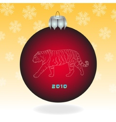 Red fur-tree ball vector image