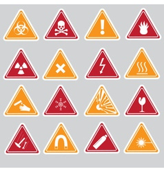 16 color danger signs types stickers eps10 vector image