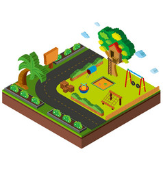 3d design for playground by the road vector image