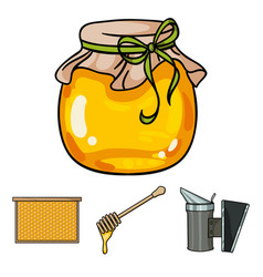 A frame with honeycombs a ladle of honey a vector