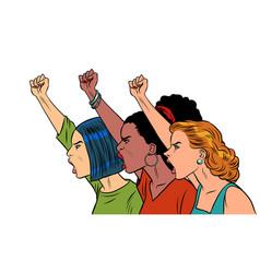 african asian caucasian women protest vector image