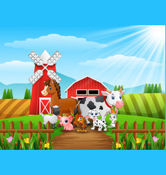 Animals happy in front of cattle warehouse vector