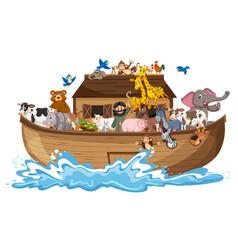 Animals on noahs ark with sea wave isolated on vector