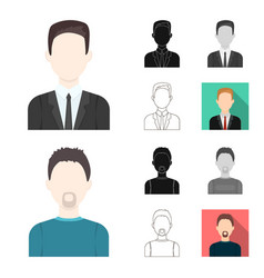 avatar and face cartoonblackflatmonochrome vector image