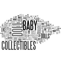 Baby doll collectibles text word cloud concept vector