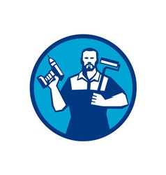 Bearded handyman cordless drill paintroller circle vector