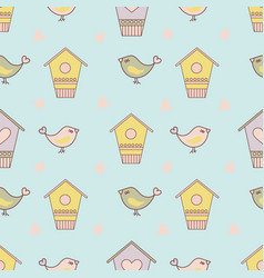 bird spring cartoon seamless pattern vector image