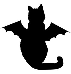 Black cat with bat wings silhouette isolated on vector
