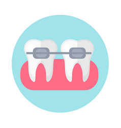 Brackets on the teeth icon flat style dentistry vector