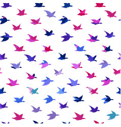 bright multicolored crane birds seamless pattern vector image