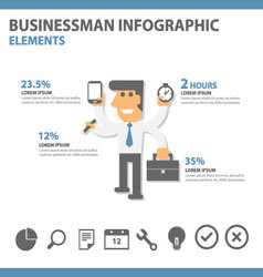 Businessman Infographic elements presentation set vector