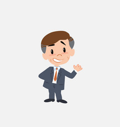 Businessman showing something in positive attitude vector