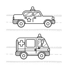 Cars coloring book for kids Ambulance police vector image