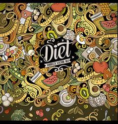cartoon doodles diet food frame bright vector image
