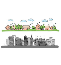 cartoon hand drawing city and trees with color vector image
